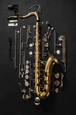The saxophone construction looks more complicated than it is.